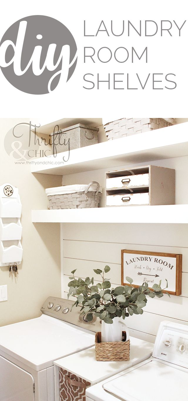 diy laundry room shelves and shiplap wall small laundry room organization and shelf ideas - Laundry Room Decor