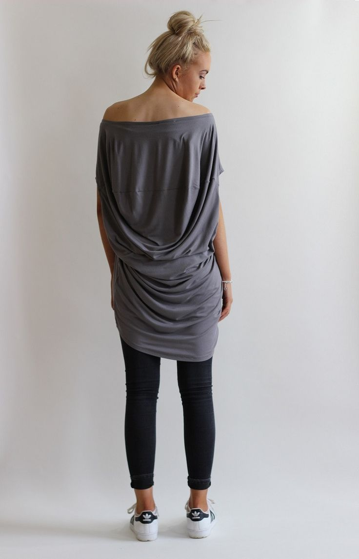 Slouchy jersey top with seam and draping detail to the back which creates a unique look. Cut to be worn off shoulders with shaped hem detail at the front. Made from a soft stretch cotton jersey fabric. Size S/M fits UK 8-12 Size M/L fits UK 14-18