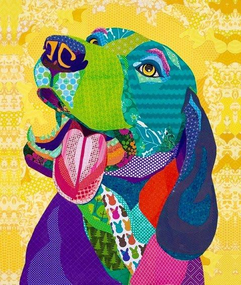 """A Warm Reception"" Cut paper collage by Laura Yager SOLD -Boise Weekly cover art 3/4/15. beagle dog artwork, animal portraits artwork, cut paper artwork"