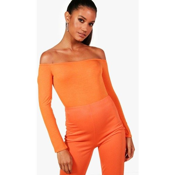 Boohoo Cara Long Sleeve Bardot Crop Top (£6.46) ❤ liked on Polyvore featuring tops, orange off the shoulder top, off the shoulder tops, orange crop top, long sleeve tops and flat top