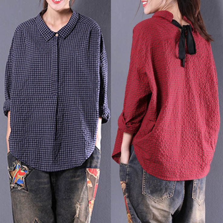 Women Button Up Pullover Top Plaid Check Shirt Oversized Cotton Peasant Blouse | eBay