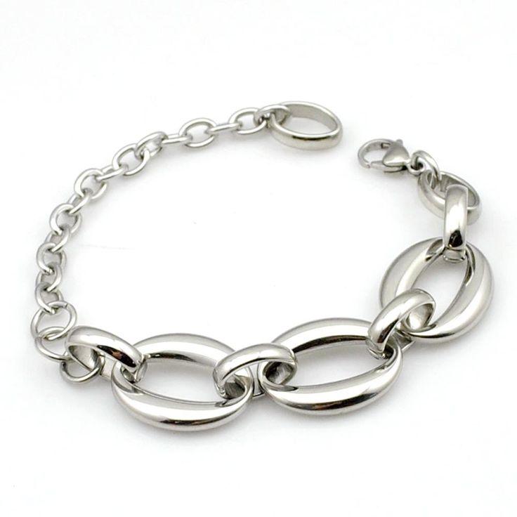 Г-жа мода браслет ретро-панк рок стиль нержавеющей стали серебряной пряжкой овальный звено цепи браслет женские украшения, Gb1100