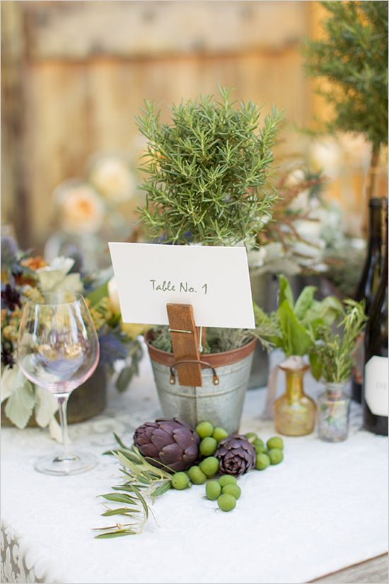 rosemary planter with table number