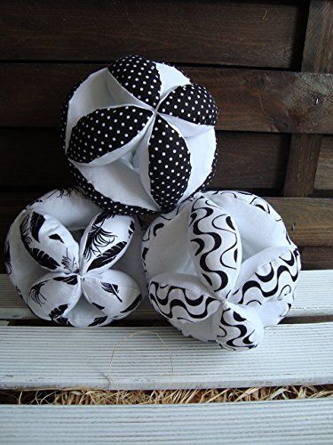 Ying Yang puzzle ball, Montessori baby toy, fabric black and white feathers ball, dots ball, waves ball