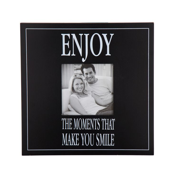 """A helpful reminder is put to eye catching black and white script in this 12"""" square frame.  Verse reads, """"Enjoy the moments that make you smile""""."""