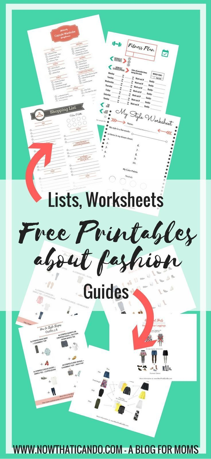 """Looking for easy mom fashion inspiration? This blogger provides it all on her blog """"for moms fighting the frumpy monster."""" Find free Printable Guides, Worksheets, and Checklists about Mom Fashion, Finding Your Style, Do's and Dont's of Fashion, and Organization. Each printable comes with a blog post that explains how to use it. Click through to see the full gallery."""