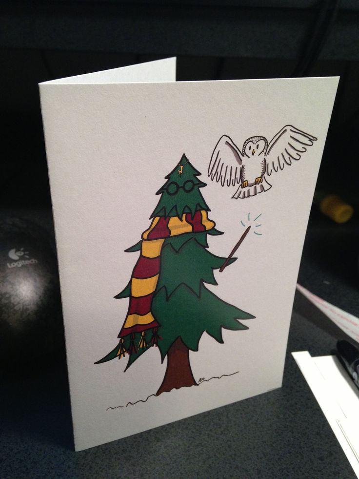 Harry Potter Cosplay tree handdesigned Christmas by Cardcrafteria, $2.50