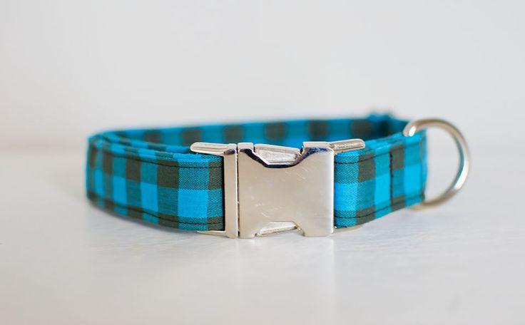 Dog Collar-Buffalo Plaid Dog Collar-Blue Plaid Dog Collar-Blue Dog Collar-Large Dog Collar-Small Dog Collar-Male Dog Collar-Designer Collar by SLWdesignsCo on Etsy