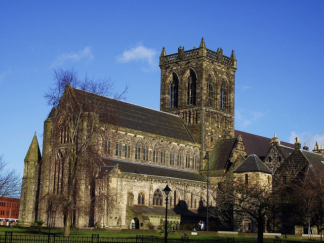 Paisley Abbey. Paisley, Scotland. After a fall from her horse while pregnant, Marjorie Bruce (Stewart) was taken here. She gave birth to the future King Robert II. Sad she died & is buried at the abbey. Marjorie is my 21st Great Grandmother.