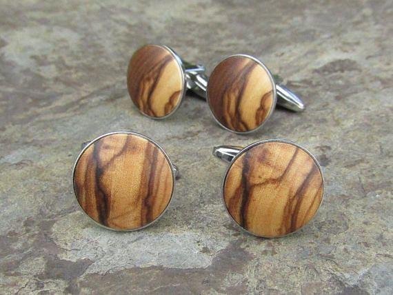 Cuff Links olive wood stainless steel cufflinks wooden men man