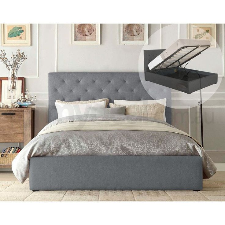 Marco King Size Gas Lift Fabric Bed Frame in Grey | Buy Marco Gas Lift Bed Frames