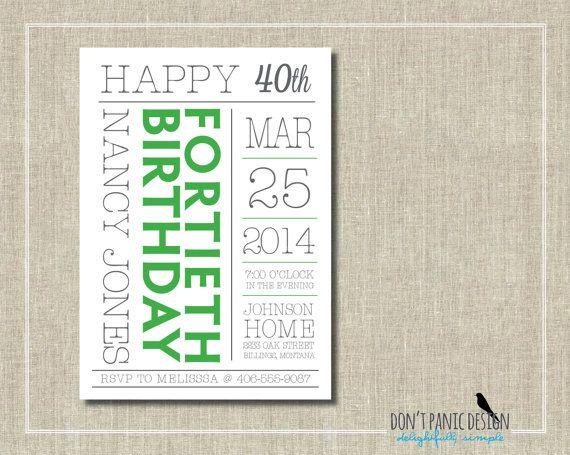 Modern Typewriter Digital Printable Birthday Invitation - Simple Green and Grey Birthday Invitation