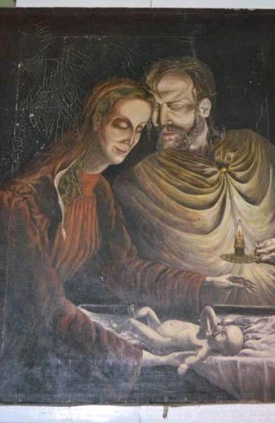 Gemälde Öl auf Leinwand signiert 1945 Jesus Familie Krieg VERSAND #Ölgemälde #Gemälde #Malerei #Kunst #Kunstgegenstand #Sammler #Sammlergegenstand #Kunstgegenstand #Kunstobjekt #Deko #Dekoration #Einrichtung #Wohnung einrichten #wohnen #einrichten
