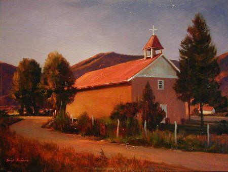 """""""Seco Light"""" l 12x16 l Dix Baines I Fine Artist l Original Oil Paintings I Orange l Building l Southwestern Landscape l New Mexico l www.dixbaines.com"""
