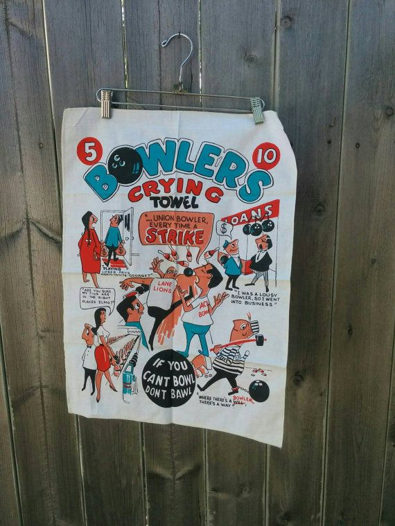 Check out this item in my Etsy shop https://www.etsy.com/listing/461741436/vintage-1960s-bowlers-crying-towel