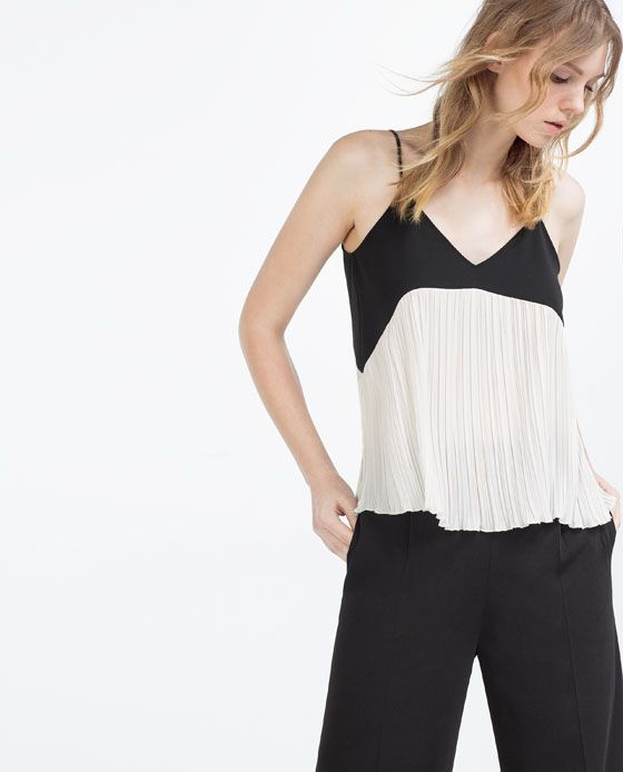 Image 5 of CONTRAST PLEATED CAMISOLE TOP from Zara