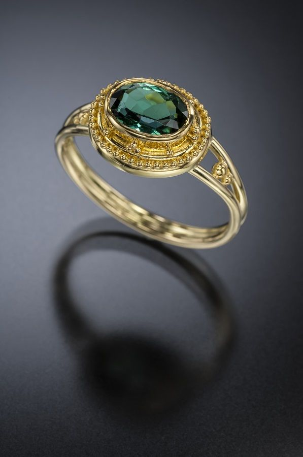 1.30 Ct Indicolite Tourmaline Ring 18K Gold - Available