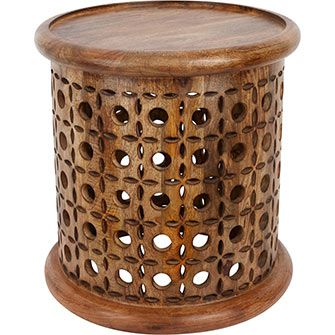 Carved Round Wooden Side Table