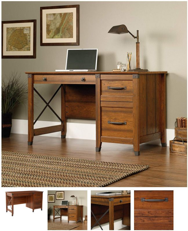 Vintage Office Desk Drawer Wood Computer Workstation Laptop Table