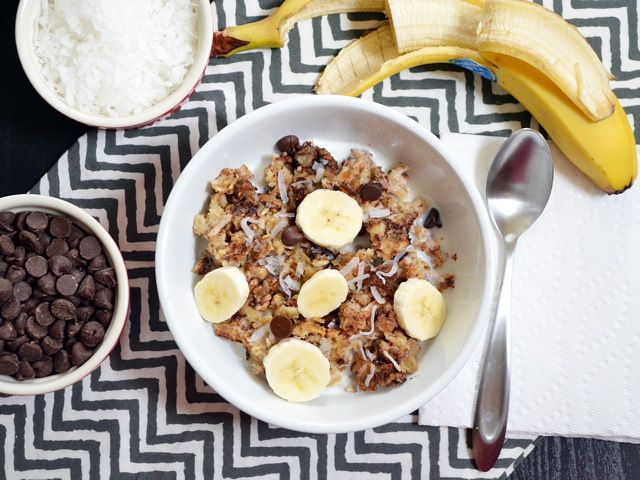 Bananas, peanut butter, coconut, and chocolate chips fill this baked oatmeal with loads of flavor, texture, and fun! Step by step photos.