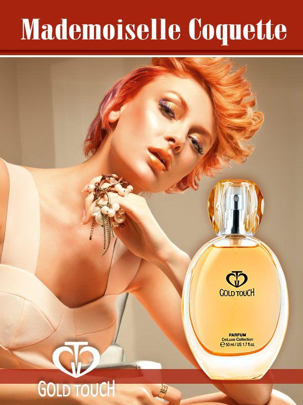 Parfum original de damă Mademoiselle Coquette EDP 50 ml  parfum de damă original Gold Touch    cod GT539  chypre  Parfum proaspăt și senzual pentru femeia tânără și sofisticată, cu o viață activă. Parfumul îmbină aromele proapete de citrice și bergamotă cu aromele elegante și luxoase de mimoze, trandafiri și iasomie.    note de vârf: portocală, bergamotă, mandarină, curaçao   note de inimă: mimoze, trandafir, iasomie, ylang-ylang  note de bază: tonka, patchouli…
