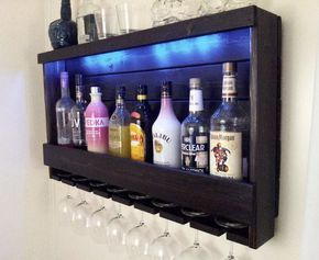 Wine Rack, RUSTIC – Liquor Cabinet – with Battery Operated LED Lights – Wine Storage – Wall Bar – Th