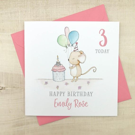 Handmade Personalised Childrens Birthday Card The Design Is A Cute Watercolour Mouse With Bal In 2020 Girl Birthday Cards Kids Birthday Cards Beautiful Birthday Cards