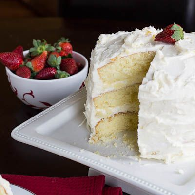 Almond Cake with Amaretto Filling and Buttercream Frosting