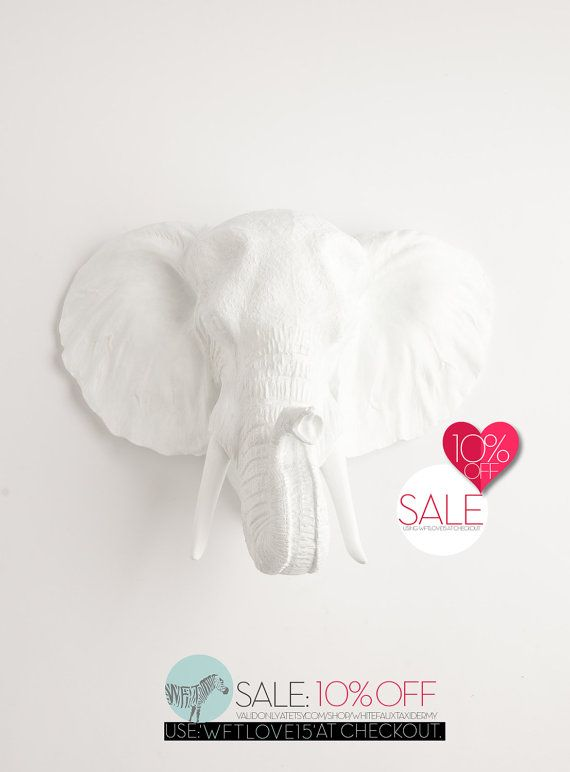 Elephant Head by White Faux Taxidermy  The door WhiteFauxTaxidermy