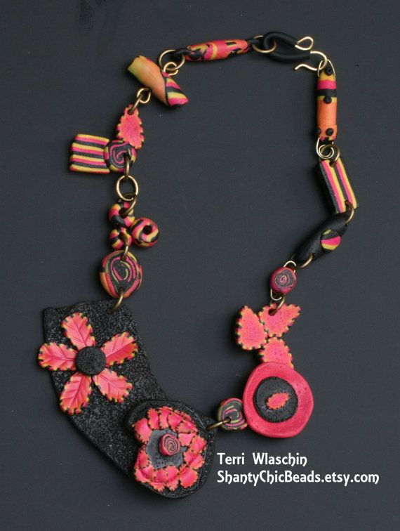 Polymer Clay Handmade Necklace  Flamingo and by ShantyChicBeads