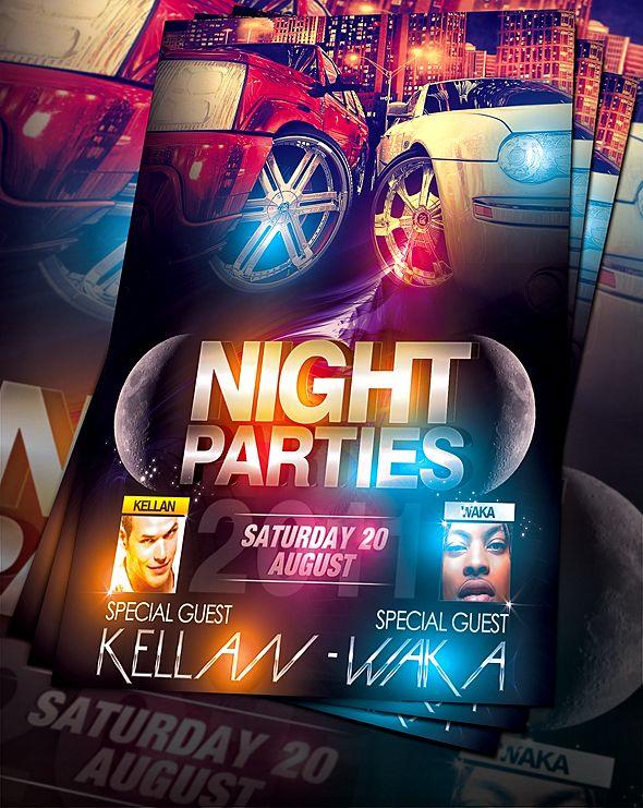 PSD NightParty Flyer by retinathemes