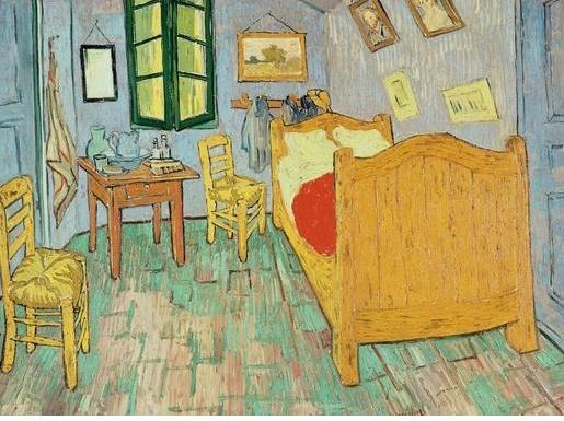 """반 고흐의 방 고흐作, 1889년  """"나는 흐린 남보라색 벽과 금이 가고 생기 없어 보이는 붉은색 바닥, 적색 느낌이 감도는 노랑색 의자와 침대, 매우 밝은 연두색 베개와 침대 시트, 진한 빨강의 침대 커버, 오렌지색 사이드 테이블, 푸른색 대야, 녹색 창문과 같은 다양한 색조를 통해 절대적인 휴식을 표현하고 싶었다""""라는 말을 함께 그려진 반고흐 의 방은  고갱이 돌아오지 않자 같은 대상을다시 그린 그림으로 원본의 그림보다 푸른색의 기운이 더 감돌아 서늘한 기분을 준다. 물론 정확히 이런 분위기와 구조를 가진 방에 살고 싶은 것은 아니다. 오히려 이것과 정말 반대 되는 집에 살고 싶다. 내가 꿈꾸는 집은 가족이 함께사는 집이고 이것은 그 집에서 누군가가 나를 기다리게 될 것임을 필연적으로 의미한다. 고흐가 그림을 다시그린것은 고갱을 기다릴때의 방의 본질과 만나지 못한후 돌아본 방의 느낌이 다르기 때문이 아닐까?내집에서 날 기다릴 그사람에게 아름다운 방을 선물하고 싶다"""