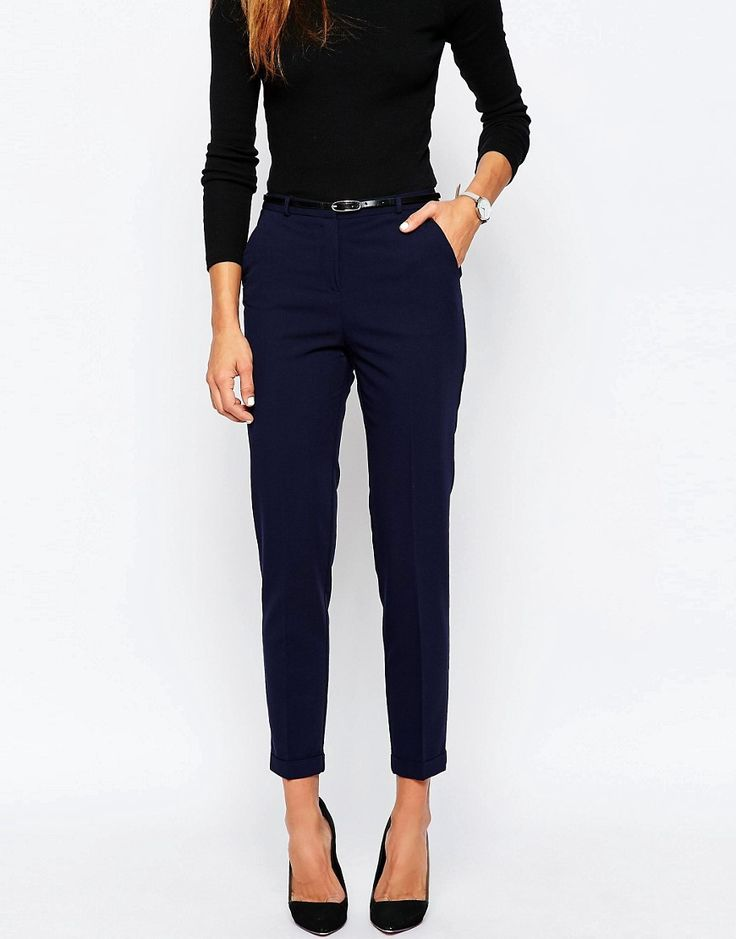 Image 4 of ASOS Cigarette Pants With Belt                                                                                                                                                                                 More