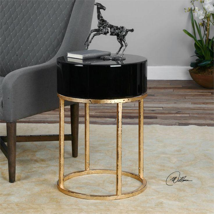 Minimalist Black And Gold Side Table #sidetabledesign Modern Design  #blackandgold Modern Living Room #