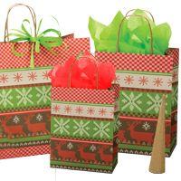 """Cadeaux Tendance - Kit 50 emballages-cadeaux modèle """"Tricot d'hiver"""" format PETIT"""