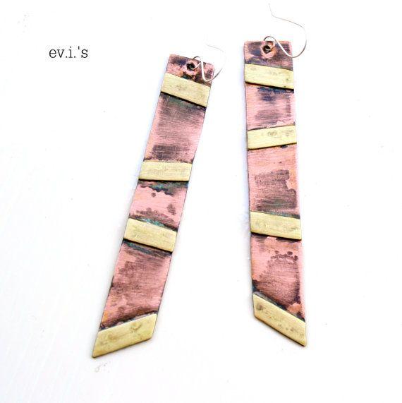 Copper Brass Striped Sterling Ear Hooks by EVIsMetalworkJewelry, €38.00