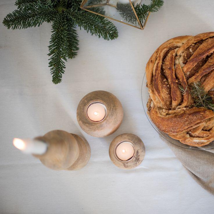 Porta velas de madera de la tienda de Renata