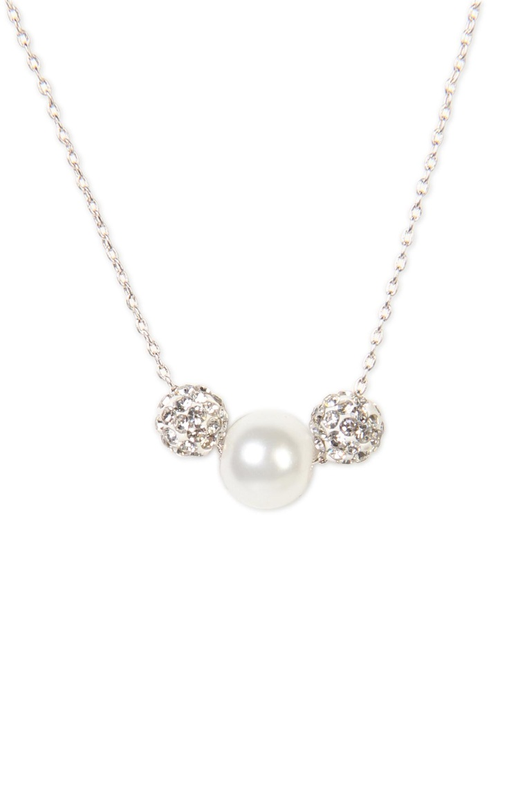 Deb Shops short necklace with #pearl and stone beads