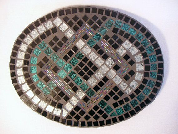 Mosaic Wall Art Silver Teal Black home decor wall hanging Celtic knot design  double interlocking infinity symbols. $125.00, via Etsy.