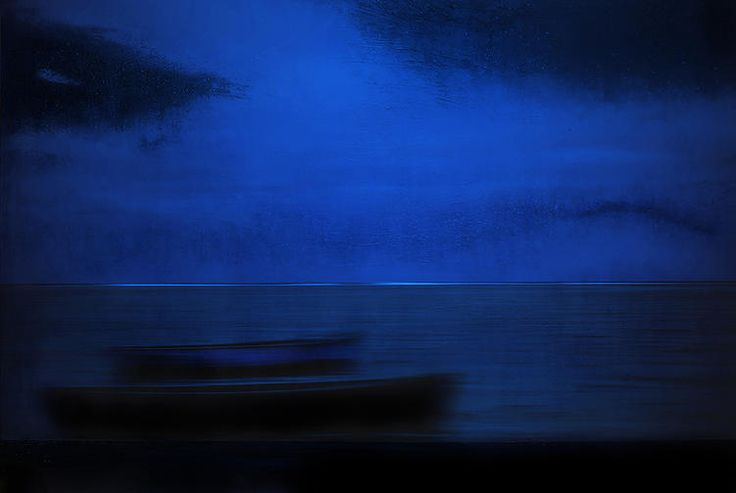 Blue Boats in Blue II by NordicArt365