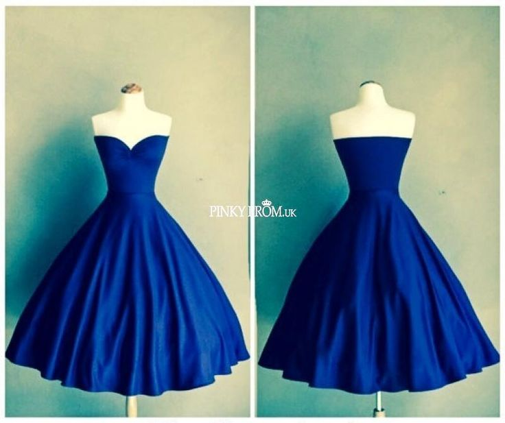 1950s Retro Sweetheart Knee Short A Line Royal Blue Pin up Style Prom Dress - pinkyprom.uk