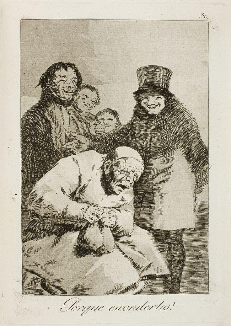 """Francisco de Goya: """"Porque esconderlos?"""". Serie """"Los caprichos"""" [30]. Etching, aquatint and drypoint on paper, 215 x 151 mm, 1797-99. Museo Nacional del Prado, Madrid, Spain"""