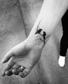 Sketch Style Bird Tattoos on Wrist by Inez Janiak