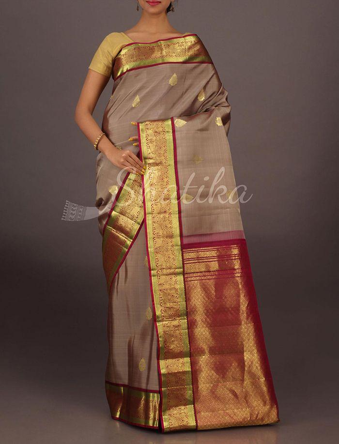 Karuna Onion Skin Color With Maroon Ornate Border Pallu Pure #SalemSilkSaree