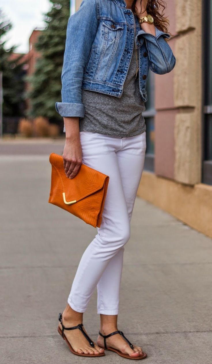 White skinnies  grey t shirt  jean jacket  black sandals     casual day or date night outfit