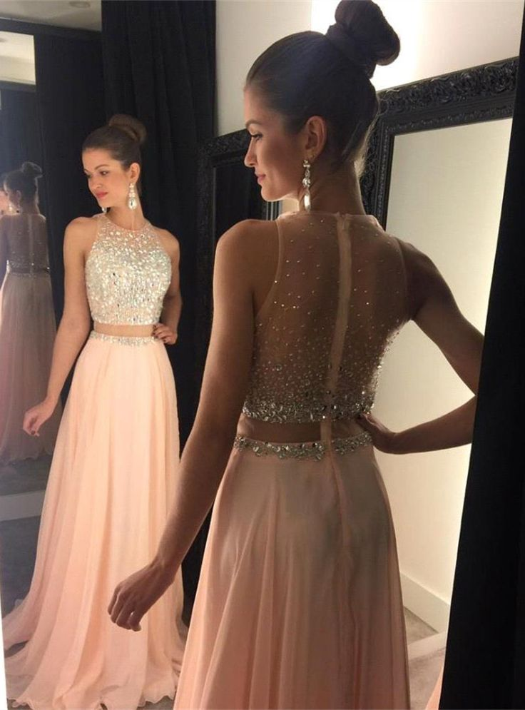 2016 Two-Piece Prom Dresses for Teens Chiffon Beaded Long A-line Sexy Evening Gowns