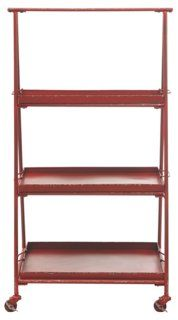 Metal Shelf on Casters, Red