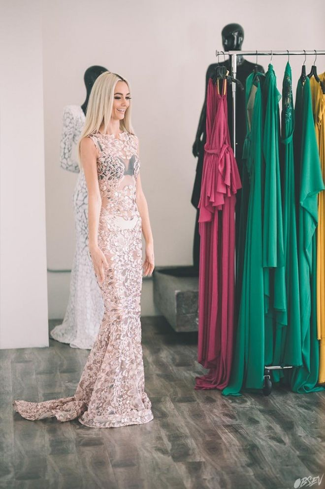 Michael Costello sequined illusion gown