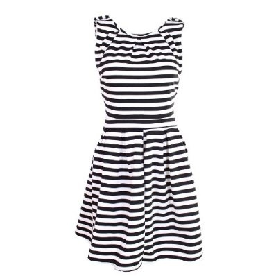 Ladies Dress Stripes Pleated Fitted Casual Party £19.95