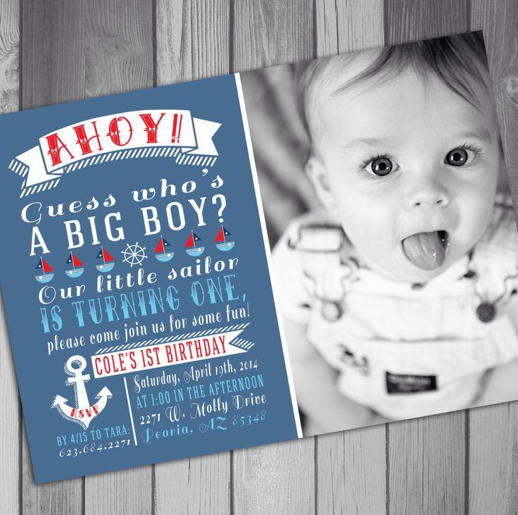 Boy Birthday Invitation Nautical Birthday Sailor Birthday Boy First Birthday invitation Printable Birthday Photo Birthday Invitation by CLaceyDesign on Etsy https://www.etsy.com/listing/184746115/boy-birthday-invitation-nautical